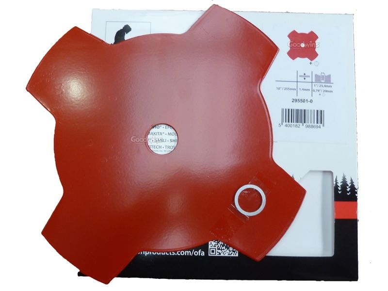Oregon 295501-0 255 x 1 4mm 4 Tooth Brushcutter Strimmer Blade 20 & 25 4mm  Bore